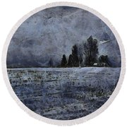 Winter Day Round Beach Towel