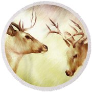 Winter Deer Round Beach Towel