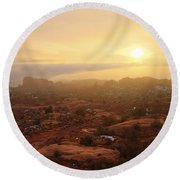 Winter Desert Glow Round Beach Towel