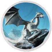 Winter Dragon Round Beach Towel