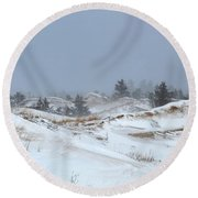 Winter Dunes Round Beach Towel