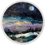 Winter Eclipse Round Beach Towel