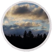 Winter Eve In The Applegate Valley Round Beach Towel
