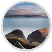Winter Evening On Humboldt Bay Round Beach Towel