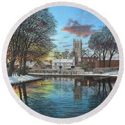 Winter Evening Tickhill Yorkshire Round Beach Towel