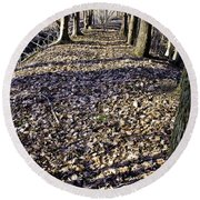 Winter Fall On The Trail Round Beach Towel