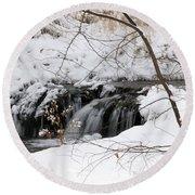 Winter Falls On Big Stone Lake Mn Round Beach Towel