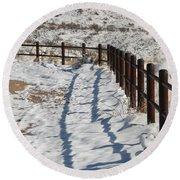 Winter Fence Round Beach Towel