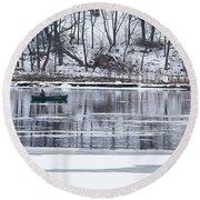 Winter Fishing - Wisconsin River Round Beach Towel