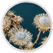 Winter Flowers Round Beach Towel