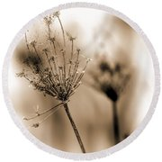 Winter Flowers II Round Beach Towel