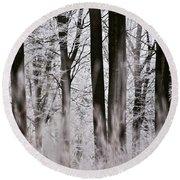 Winter Forest 1 Round Beach Towel by Heiko Koehrer-Wagner