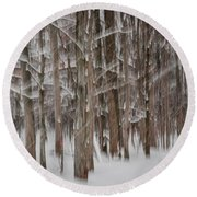 Winter Forest Abstract II Round Beach Towel
