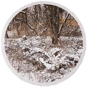 Winter Forest Panorama Round Beach Towel