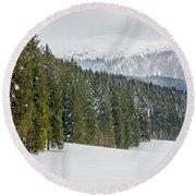 Winter Forest Round Beach Towel