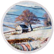 Winter Frost Round Beach Towel by Tilly Willis