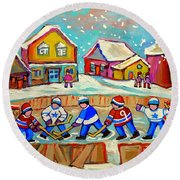 Winter Fun At Hockey Rink Magical Montreal Memories Rink Hockey Our National Pastime Falling Snow   Round Beach Towel