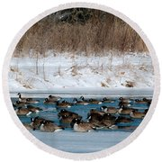 Winter Geese - 02 Round Beach Towel