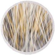 Winter Grass Abstract Round Beach Towel