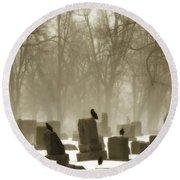 Winter Graveyard Crows Round Beach Towel