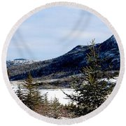Winter Has Arrived In The Valley Round Beach Towel