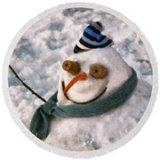 Winter - I'm Ready For My Closeup Round Beach Towel by Mike Savad