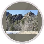 Winter In Arizona Round Beach Towel