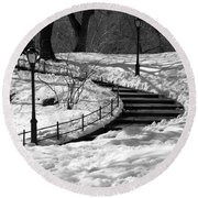 Winter In Central Park Round Beach Towel