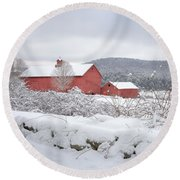 Winter In Connecticut Square Round Beach Towel