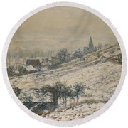Winter In Giverny Round Beach Towel