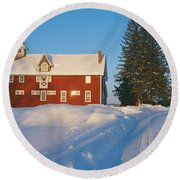 Winter In New England, Mountain View Round Beach Towel
