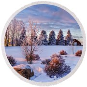 Winter In Pink Color Round Beach Towel