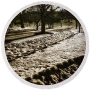 Winter In The Berkshires Round Beach Towel