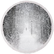 Snowing In The Forrest Round Beach Towel