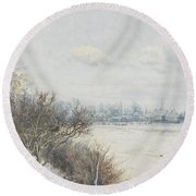 Winter In The Ouse Valley Round Beach Towel