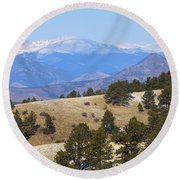 Winter In The Pike National Forest Round Beach Towel