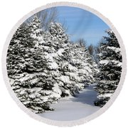 Winter In The Pines Round Beach Towel