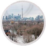 Winter In Toronto Round Beach Towel
