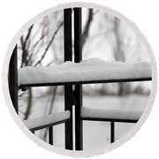 Winter Ironwork Round Beach Towel
