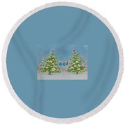 Winter Is Fun Round Beach Towel