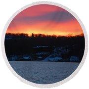 Winter Lake Sunset Round Beach Towel