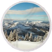 Winter Landscape In British Columbia Round Beach Towel