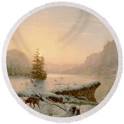Winter Landscape Round Beach Towel by Mortimer L Smith