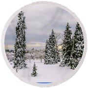 Fabulous Winter. Round Beach Towel