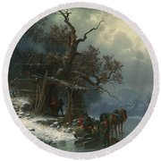 Winter Landscape With Figures On A Frozen River Round Beach Towel by Heinrich Hofer