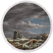 Winter Landscape With Figures On A Path Round Beach Towel