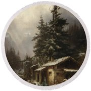 Winter Landscape With Figures Resting Near A Water Mill Round Beach Towel