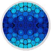 Winter Lights - Blue Mosaic Art By Sharon Cummings Round Beach Towel