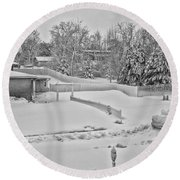 Winter Lines Black And White Round Beach Towel