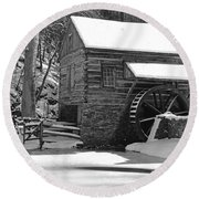 Winter Mill In Black And White Round Beach Towel